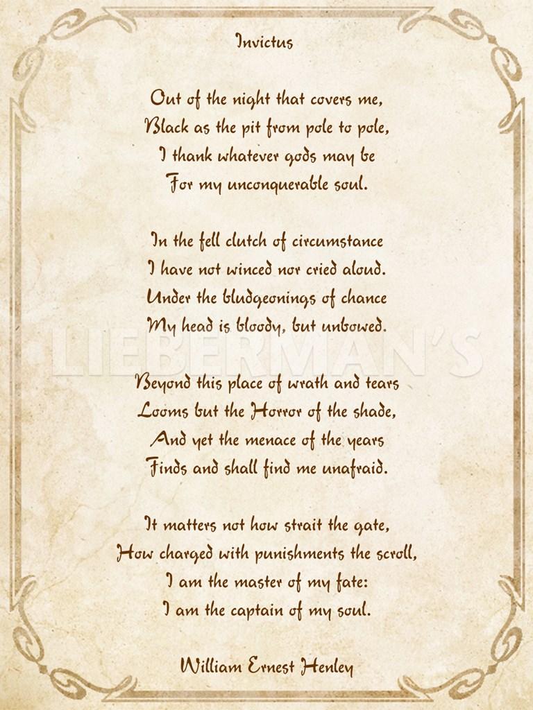 invictus poem poster at com invictus poem unknown