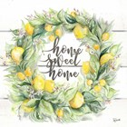 Watercolor Lemon Wreath Home Sweet Home by Tre Sorelle Studios art print