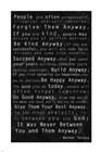Mother Teresa Quote Black by Veruca Salt art print