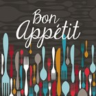 Bon Appetit Cutlery Grey by Color Me Happy art print
