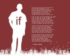 If by Rudyard Kipling - Man Silhouette Red by Quote Master art print