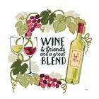 Wine and Friends V on White by Janelle Penner art print