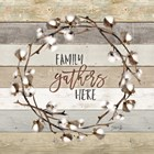 Family Gathers Here Cotton Wreath by Marla Rae art print